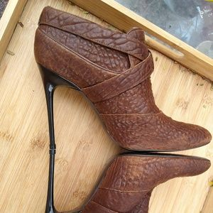 7 For All Mankind brown stiletto booties boots 10